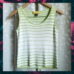 {St.John}Key Lime Green Stripe Knit Wool Vest Tank